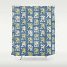 Mid Century Horse Pattern Blue Chartreuse and Beige Shower Curtain