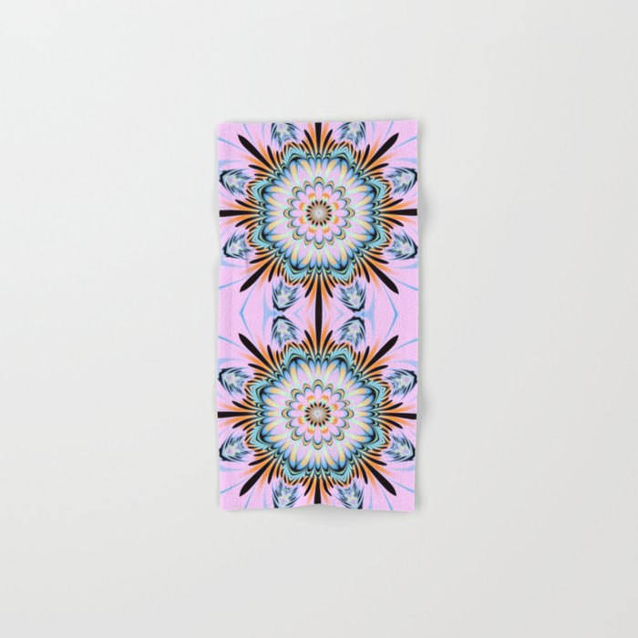 Decorative fantasy flower with a pastels heart Hand & Bath Towel