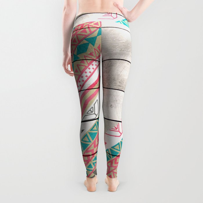 Andes Tribal Aztec Coral Teal Chevron Wood Pattern Leggings