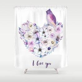 Heart bouquet flowers Shower Curtain