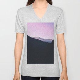 Mountain Forest Sky Pink Pastel Unisex V-Neck