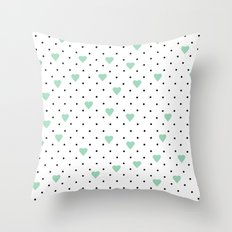 Pin Point Hearts Mint Throw Pillow