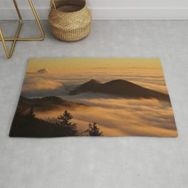 Homberg, German Alps Fog and Mountains Photographic Landscape Rug