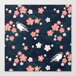 Navy blue cherry blossom finch Canvas Print