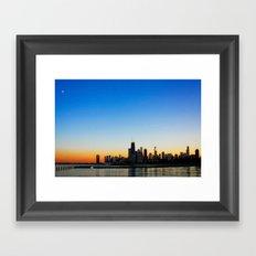 Sunset over Chicago Framed Art Print
