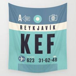Baggage Tag A - KEF Reykjavik Keflavik Iceland Wall Tapestry