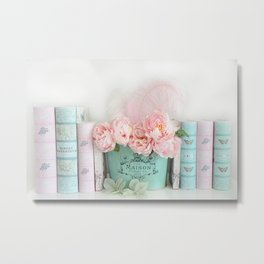 Aqua Pink Peonies and Books Metal Print