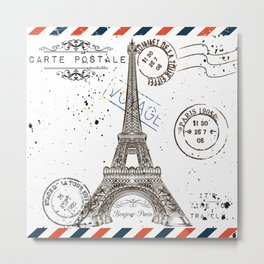 Art hand drawn design with Eifel tower. Old postcard style Metal Print