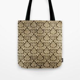 Elegant brown faux gold vintage floral damask Tote Bag