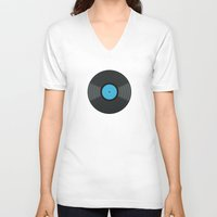 records V-neck T-shirts featuring Vinyl Records by PatternInk