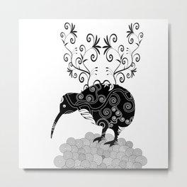 Black and white KIWI Metal Print