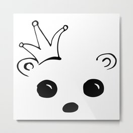 Bear king with crown in black and white doodle drawing Metal Print