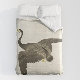Cormorant mid flight - Vintage Japanese Woodblock Print Art Comforters