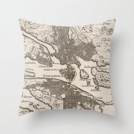 Vintage Map of Stockholm Sweden (1764) Throw Pillow