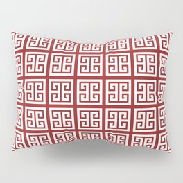 Sangria Red Greek Key Pattern Pillow Sham