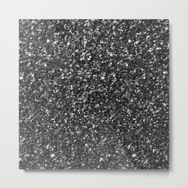 Modern Black Faux Glitter No2 Metal Print