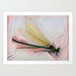 Dragonfly creeps on a white Art Print