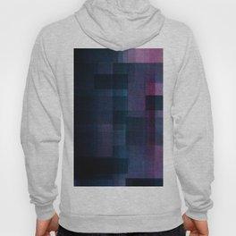 Dark Purple Geometric Colourful Pattern Layers Grid Quilt Fuzzy Texture Hoody