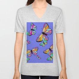 Modern Rainbow Colored Butterflies On Lavender Blue Unisex V-Neck