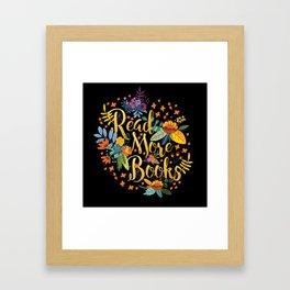 Read More Books - Black Floral Gold Framed Art Print