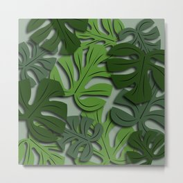 Monstera Plant Background - Poster - Paper Metal Print