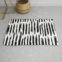 Vertical Dash Black and White Paint Stripes Rug