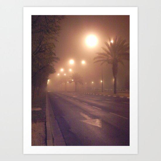 Foggy road Art Print