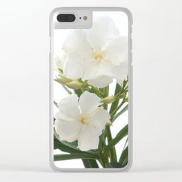 White Oleander Flowers Close Up Isolated On White Background  Clear iPhone Case