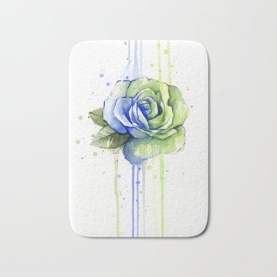 Flower Rose Watercolor Painting 12th Man Art Bath Mat