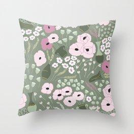 Pink Poppies - kaki floral pattern Throw Pillow