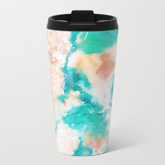 Sea Foam and Pink Abstract Metal Travel Mug