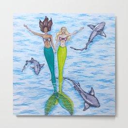 Floating Mermaids Metal Print