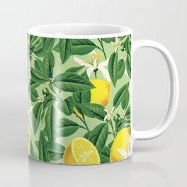 Lemonade Garden, Green Fresh Lemon Botanical Illustration, Vibrant Summer Tropical Fruit Nature Coffee Mug