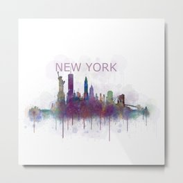 NY New York City Skyline v5 Metal Print