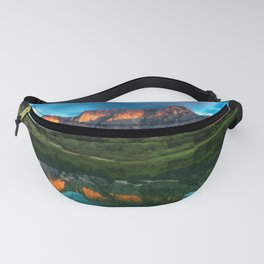Burning sunset over the mountains at lake Fusine, Italy Fanny Pack