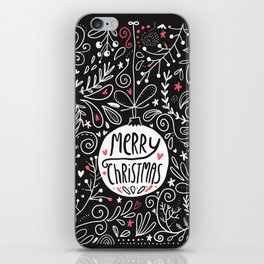Merry Christmas doodles iPhone Skin