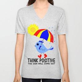 Blue Bird Think Positive Image Unisex V-Neck