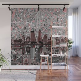indianapolis city skyline grey Wall Mural