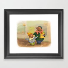 Grandpa mole and little mole Framed Art Print