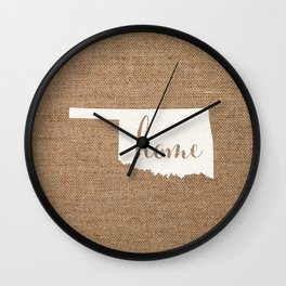Oklahoma is Home - White on Burlap Wall Clock