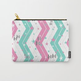 Tie Fighters and Chevrons in Pink and Pool Carry-All Pouch