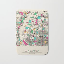 Colorful City Maps: Albuquerque, New Mexico Bath Mat