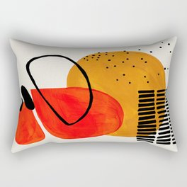 Mid Century Modern Abstract Colorful Art Yellow Ball Orange Shapes Orbit Black Pattern Rectangular Pillow
