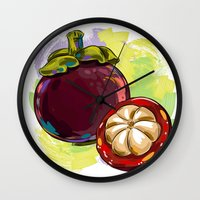 vietnam Wall Clocks featuring Vietnam Mangosteen by Vietnam T-shirt Project