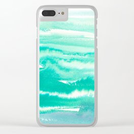 Modern abstract turquoise aqua watercolor Clear iPhone Case