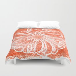 White Flower On Pumpkin Orange Crayon Duvet Cover