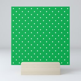 Small White Polka Dots with Green Background Mini Art Print