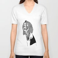 doll V-neck T-shirts featuring Doll by Kat Leimbach