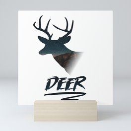 Deer silhouette mountain outdoor antlers gift Mini Art Print