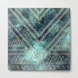 Jade Chevron Gold Metal Print